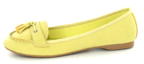 Yellow Tassel Shoe Flat UK Trim Vamp Spot 4 On Size wqHgF