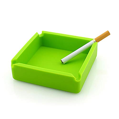 (Tharv❤Premium Silicone Rubber High Temperature Heat Resistant Square Design Ashtray (Green))