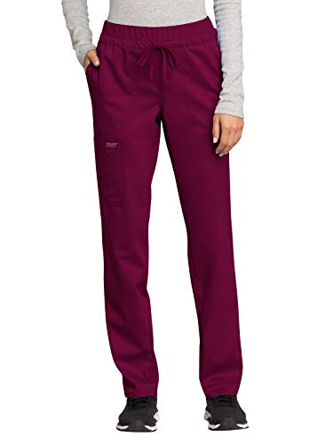 Cherokee WW Revolution WW105 Mid Rise Tapered Leg Drawstring Pant Wine L
