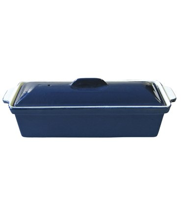 Le Cuistot Enameled Cast-Iron 12 Inch Terrine with Cover - Blue Orly