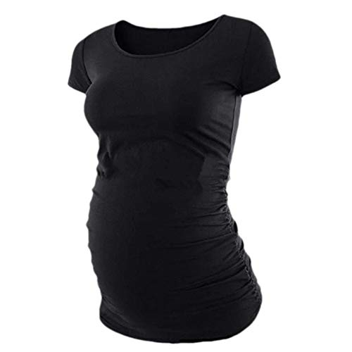- Abetteric Women Solid Short-Sleeve O-Neck Maternity Dress Tops T Shirts Blouse Black S