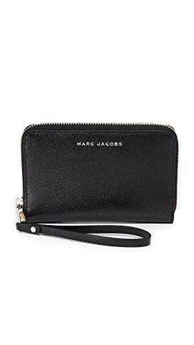 Marc Jacobs Saffiano Tricolor Slgs Zip Phone Wristlet, Black
