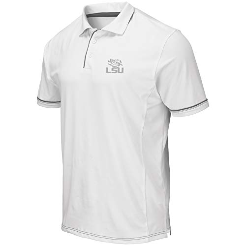 Colosseum Men's NCAA-Ice- Golf/Polo Shirt-White-LSU -