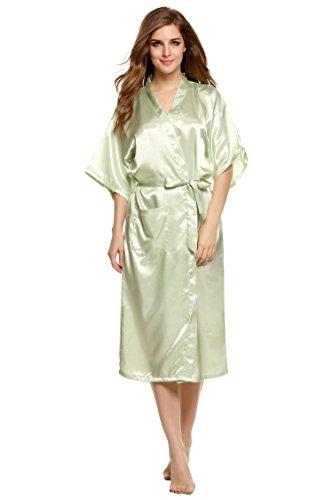 notte lunga da cooshional camicia sleepwear pigiama vestaglia kimono Donna Verde xFI6Iq
