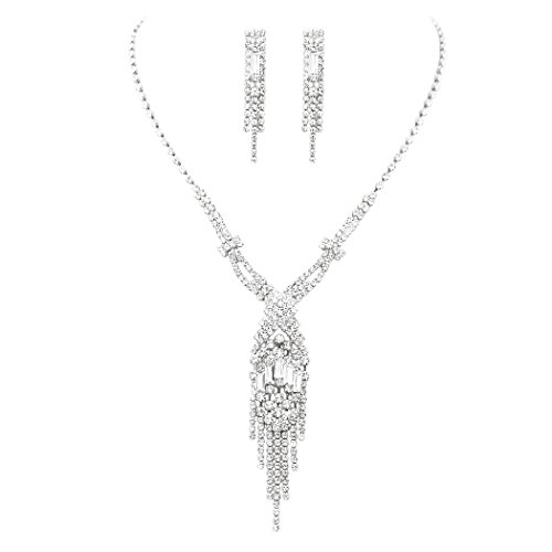 Rosemarie Collections Women's Fringe Rhinestone Necklace and Earrings Set (Silver Tone) ()