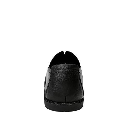 Hombre Cuero Zapatos Que Mocasines Ruanyi Negocios Suela Color De Cómodos Mocasín Ocasional Conduce Frijoles Negro Para Sólido Hombres Suave Barcos vdxq1Zq
