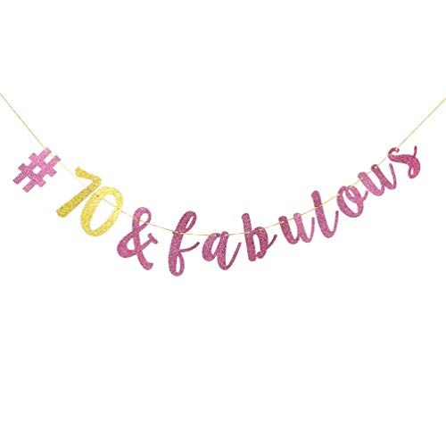 (INNORU 70 & Fabulous Banner , Pink and Gold Glitter 70th Birthday Party Decorations , Adult Party Supplies Photo Props Sign)