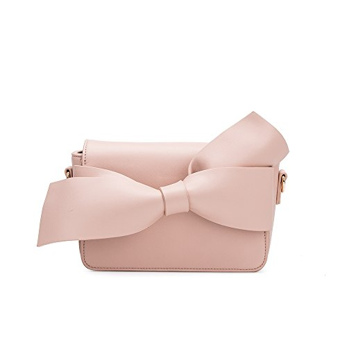 Melie Bianco Stylish Crossbody Strap Shoulder Bags For Women - Dior Bow Clutch Design - Luxury Vegan Leather (Blush) (Dior Buckle)