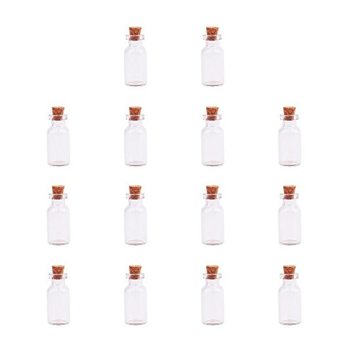 PandaHall Elite 14 Pcs Mini Tiny Clear Glass Jars Bottles with Cork Stoppers and Eye Pins for Crafts Projects Size 35x16mm in Box - Craft Snowman Bottle