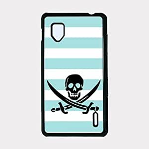 Jolly Roger Pirate Aqua Stripes Cute Hipster Aqua Silicon Bumper Lg E975 Optimus G Case - For Lg E975 Optimus G
