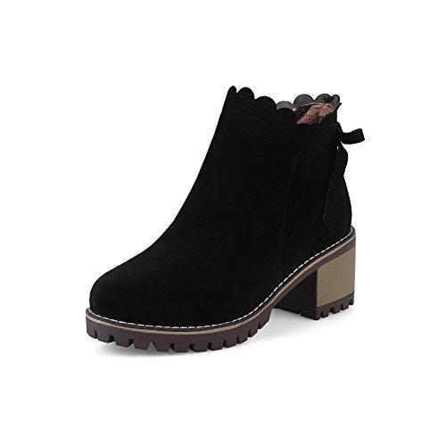 BalaMasa Womens Casual Retro Slip-Resistant Suede Boots ABL10396 Black M1Qqb7Nb