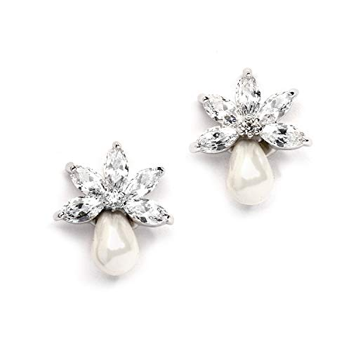 Mariell Dainty Freshwater Pearl and CZ Cluster Bridal Wedding Earrings - Great for Bridesmaid & Prom ()