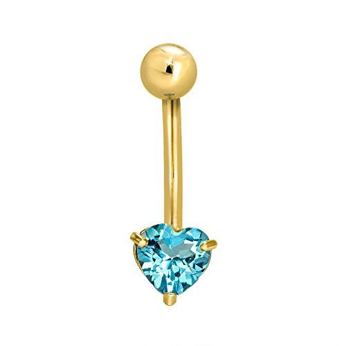 (JewelStop 14k Solid Gold Yellow Blue Topaz Heart Navel Belly Ring Body Jewelry )