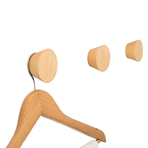 JINMURY 2 Pack Natural Wooden Coat Hooks, Germany Beech Wood Wall Mounted Single Decorative Wall Hooks, Handcrafted Clothes Hooks Hat Rack (AAA Grade) ()