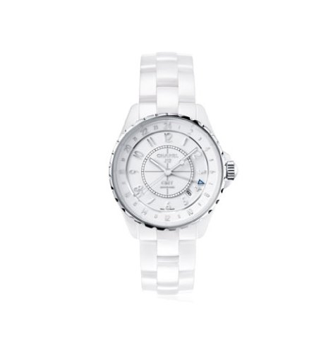 Chanel J12 Automatic GMT White High-Tech Ceramic Ladies Watch H3103 (Chanel J12 White Ceramic Watch)
