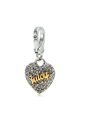 Juicy Couture Pave Bracelet - Juicy Couture Crystal Pave Heart Charm, Silvertone