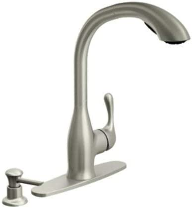 Moen 87450SRS Pullout Spray High-Arc Kitchen Faucet with Soap Dispenser  from the Varese Collection, Spot Resist Stainless