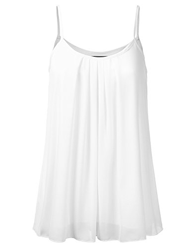 SSOULM Women's Pleated Chiffon Layered Cami Cool Short Tank Tunic Top OFFWHITE 2XL (Beaded Cotton Top)