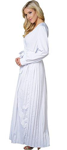 Abito 2 A Bianca Basso Donne Camicia Il Abito Maniche Bianco Fidanzato Pieghe Verso Camicia Bodycon4u Lungo Maxi Delle Lunghe Tasto qgaaf