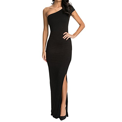 Sue&Joe Women's Bodycon Maxi Dress One Shoulder Side Slit Fitted