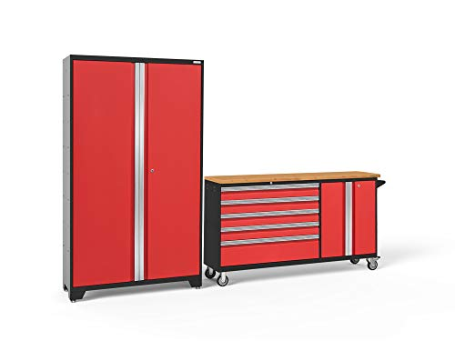 2 Piece Set Cabinet - NewAge Products Bold 3.0 Red 2 Piece Set, Garage Cabinets, 56216