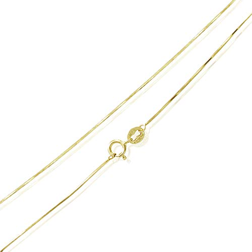 Sea of Ice Yellow Gold Flashed Sterling Silver 1mm Square Snake Chain Necklace, Size ()