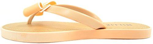 Ladies / Womens Summer / Holiday / Beach Millie Bow Sandal / Shoes / Flip Flops Beige u5txa6Z