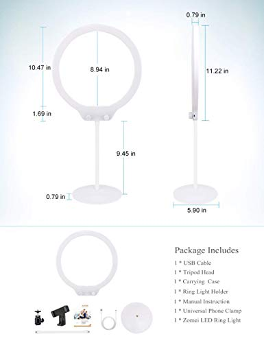 Zomei Selfie Ring Light with Stand Cell Phone Holder Dimmable Photography Desktop Beauty Light for Makeup and YouTube Video/Photography Vlogs Compatible with iPhone Android (White)
