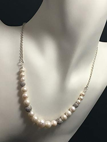 (Wedding Pearl Necklace - 16 inches long - Sterling Silver )