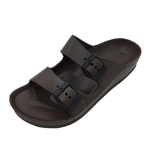 - FUNKYMONKEY Women's Comfort Slides Double Buckle Adjustable EVA Flat Sandals (9 M US/Women, Dark Brown)