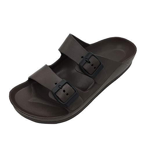 FUNKYMONKEY Women's Comfort Slides Double Buckle Adjustable EVA Flat Sandals (7 M US/Women, Dark Brown)