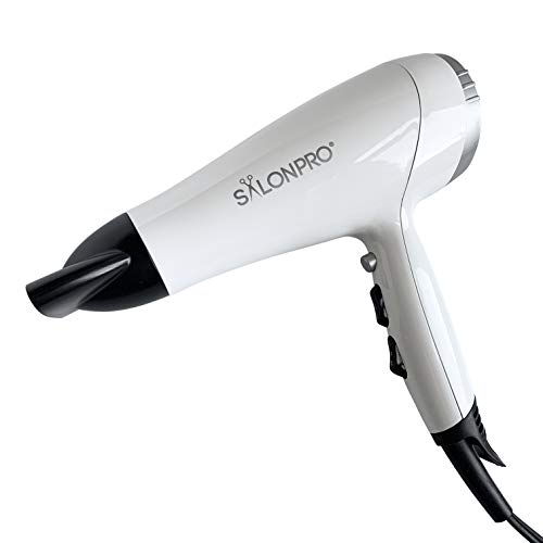 (SalonPro 1875 Watt Super Fast Drying Professional Hair Dryer Ceramic Ionic Stylist Salon Blower Powerful & Lightweight DC Motor with Concentrator Nozzle Cold Shot Blast Glossy White)
