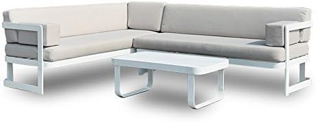 SLAAP - Conjunto de jardín Compuesto por: 1 sofá en L de 5 plazas, y 1 Mesa de Centro.: Amazon.es: Jardín