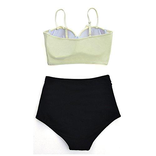 High Waist Bikinis Geblümt Push up Bauchweg Größe Grössen Bademode Badeanzug Strand Beige 5jlsVXMPVU
