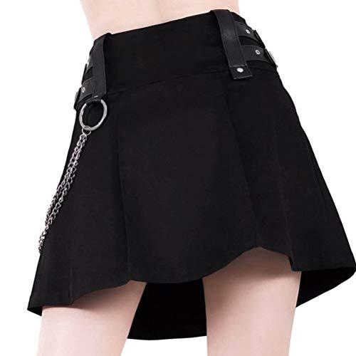 Women's Black Sexy Gothic Punk Vintage Zipper High Waist Bodycon Pleated A Line Mini Skirt -