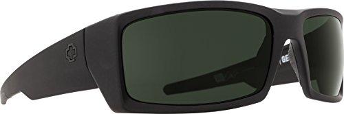 (Spy Optic Men's General Rectangular, Soft Matte Black/Happy Gray/Green, 60 mm)