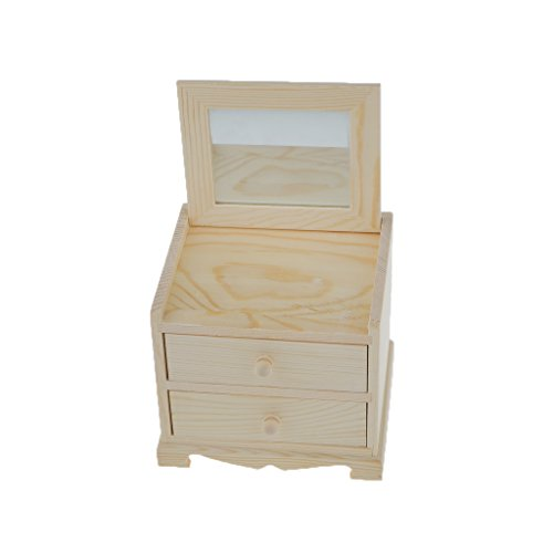 (Dovewill Natural Unfinished Wooden Jewelry Box Small 2 Drawers Chest Case Glass Mirror)