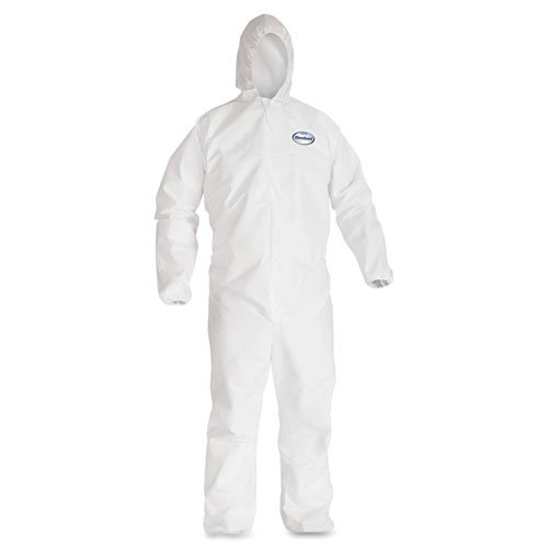 KCC44324 - Kleenguard A40 Elastic-cuff Hooded Coveralls, White, X-large