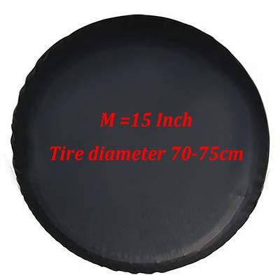 Qiyun Copriruota 0,7mm PVC di scorta per auto nero per pneumatici Jeep Kia SUV, 15 pollici