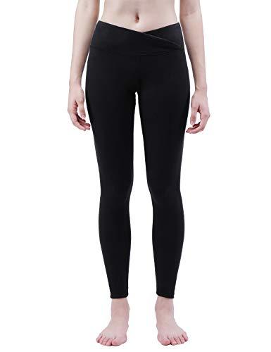 TaiBid Women's Yoga Pants, V Cut High Waist Tummy Control Workout Running Non See Through Leggings, Black - M