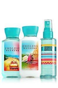 Bath & Body Works Endless Weekend Travel Size 3 Fl Oz Shower Gel, Lotion, & Fragrance Mist Gift Set
