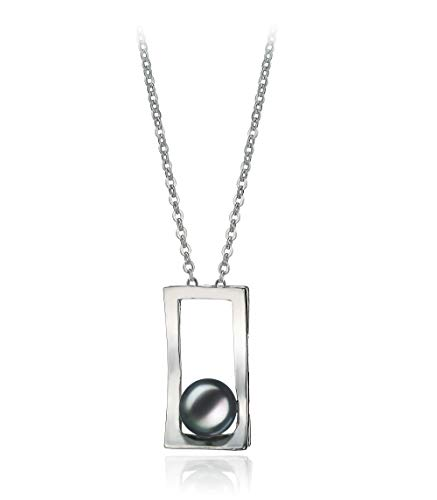 Athena Black 7-8mm AA Quality Freshwater White Bronze Cultured Pearl Pendant for Women