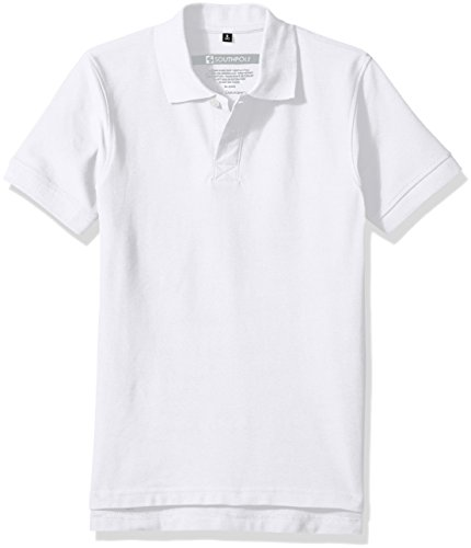 Southpole Boys' Big Classic Short Sleeve Solid Polo Shirt, White ()