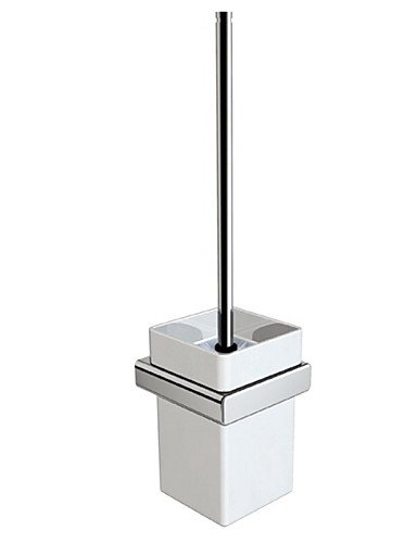 XY&XH Toilet Brush Holder , Wall Mounted Square White Ceramic Toilet Brush Holder with Black Toilet Brush , ivory