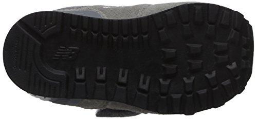NEW BALANCE - Grauer Sportschuh, aus Wildleder und Stoff, mit Klettverschluss, seitlich und hinten ein Logo, sichtbare Nähte und Gummisohle, Jungen
