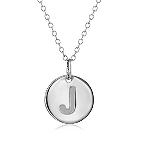 925 Sterling Silver Round Disc Initial Pendant Necklace (J)