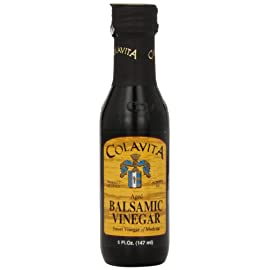 Colavita Balsamic Vinegar, 5-Ounce Bottles (Pack of 16) 1 Special 5oz bottle Colavita Balsamic Vinegar. Enhance your dishes with the fruity tones of Colavita Balsamic Vinegar. In addition to salad dressings try adding Balsamic Vinegar to slow-cooked foods like soup or beans or use as a marinade for meat.