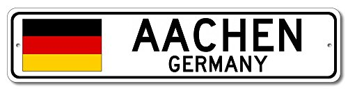 "The Lizton Sign Shop Aachen, Germany Aluminum German Flag Sign, Germany Custom Flag Sign - 6""x24"""