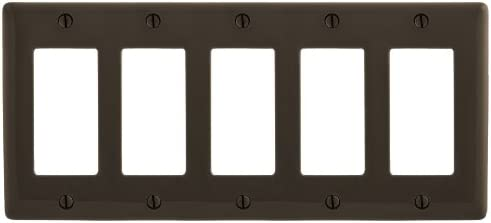 Bryant Electric NP265 Wallplate Nylon Standard Size 5-Gang 5 Decorator/GFCI Brown