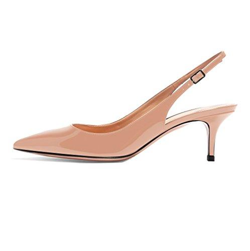 EDEFS Womens Pointed Toe Slingback Court Shoes 6.5cm Kitten Heel Patent Pumps Beige